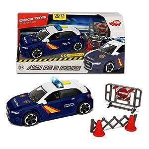 Dickie- Policía Nacional Control Policial Audi RS3 15cm 1153011 Vehículo de Juguete con función, Multicolor 18