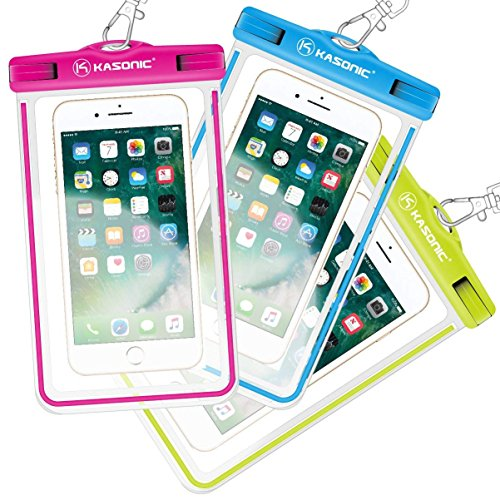Phone Universal Cell Green (Waterproof case, Kasonic Universal Waterproof Bag Pouch, Clear Sensitive Touch Screen iPhone 7/6/6S Plus/5/5s/5c Galaxy S7/S7 Edge/S6/S5/S4 Note 4/3 LG G5/G3 (Pink&Blue&Green))