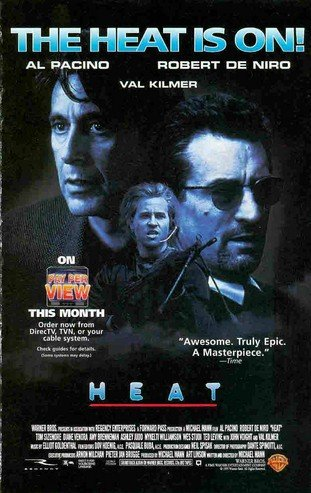Heat: PPV: The Heat is On: Al, Pacino; Robert DeNiro; Val Kilmer: Great Original Photo Print Ad!