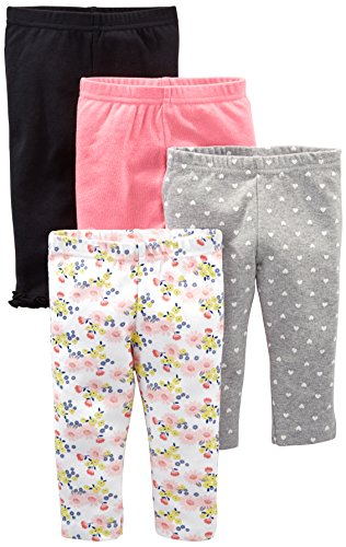 Simple Joys by Carter's Baby Girls' 4-Pack Pant, Navy, Gray Dot, Pink, Floral, 0-3 Months -