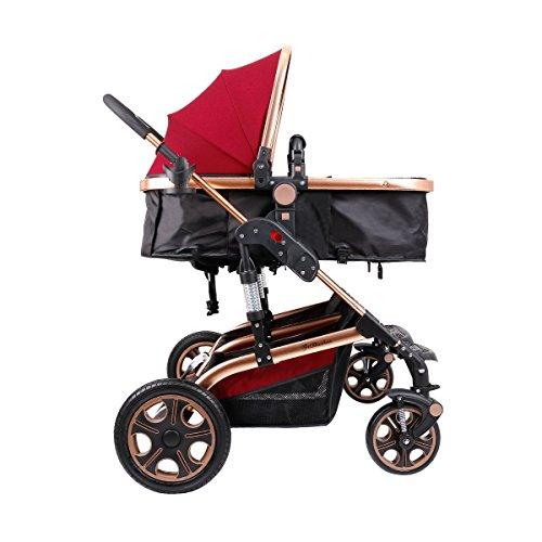 Double Stroller Newborn Infant Side by Side Twin Stroller Anti-shock Pram Pushchair-Red by Movker (Image #9)