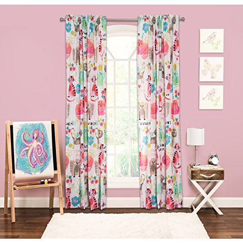 DH 1 Piece Pink Kitten Animal Pattern Window Curtain for Kids Room 84 Inch Single Panel, Teen Themed Colorful Light Filtering Green Yellow Blue Cat Graphic Print Soft Cozy Polyester Rod Pocket by DH