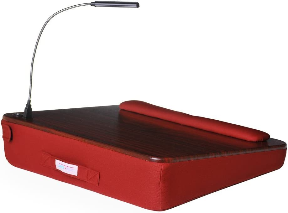 Memory Foam Lap Desk with USB Light, Burgundy