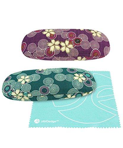 Designer Eyeglass Case - (2 Pack), JAVOedge Cherry Blossom [Blue, Purple] Print Eyeglass Hard Clam Shell Case, Bonus Microfiber Cleaning Cloth