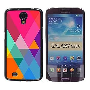 iKiki Tech / Estuche rígido - Art Blue Colorful Pattern Purple - Samsung Galaxy Mega 6.3 I9200 SGH-i527