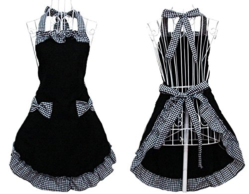 [New Cute Vintage Flirty Womens Bowknot Kitchen Bib Apron Dress with Pocket Gift] (Comic Book Couples Costumes)
