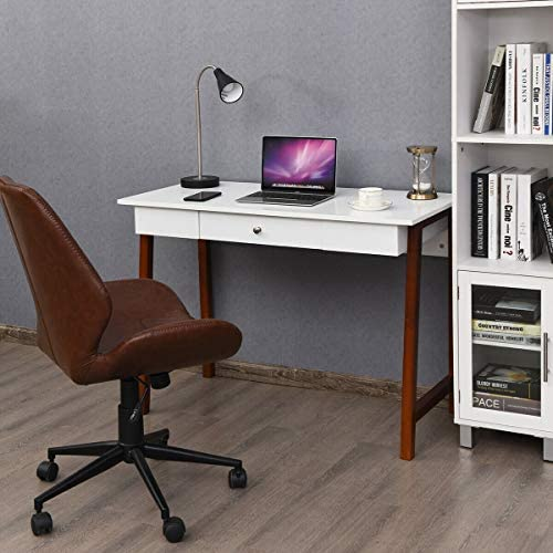 Tangkula Computer Desk, Makeup Vanity Table, Desk with Storage Drawers, Writing Study Desk for Home Office, Dressing Table White Brown