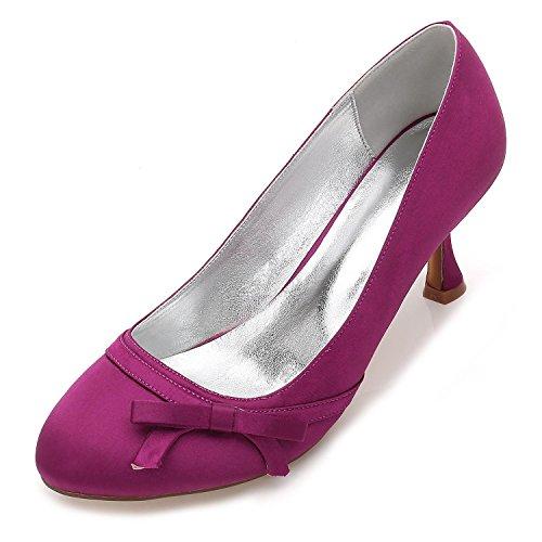 L@YC Para Mujer 17061-38 Nupcial De La Boda Bombas De SatéN Ladies Slip On Prom Bombas De Dama De Honor Zapatos TamañO Purple