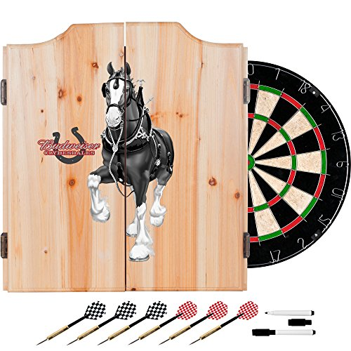 Trademark Gameroom AB7010-CLY-B Budweiser Dart Cabinet Set with Darts & Board - Clydesdale black (Dartboard Custom Cabinets)