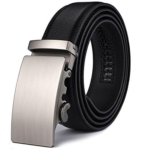 Five Buckle (DCFlat Ratchet Click Belt for Men, Designer Mesn's Leather with Open Automatic Buckle (Waist:26--35,)