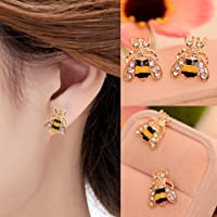 Lovely Rhinestone Bumble Bee Crystal Animal Ear Stud Earrings Jewelry Gift
