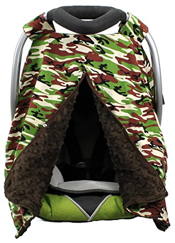 (Onyx Arrow Carseat Canopy, Camouflage Cotton Print, Brown Minky Dot, Mix and Match)