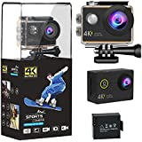yuanli 4K WIFI Action Camera, 16MP Ultra HD Waterproof Sports Camera with 170 Degree Wide Angle Lens 2 Inch LCD Display, 1050mAh Rechargeable Battery Camcorder Sports Camera