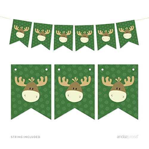 Andaz Press Hanging Pennant Party Banner with String, Rustic Woodland Forest Moose, 9-Feet, 1-Set, Decor Paper Decorations, Includes (Moose Garland)