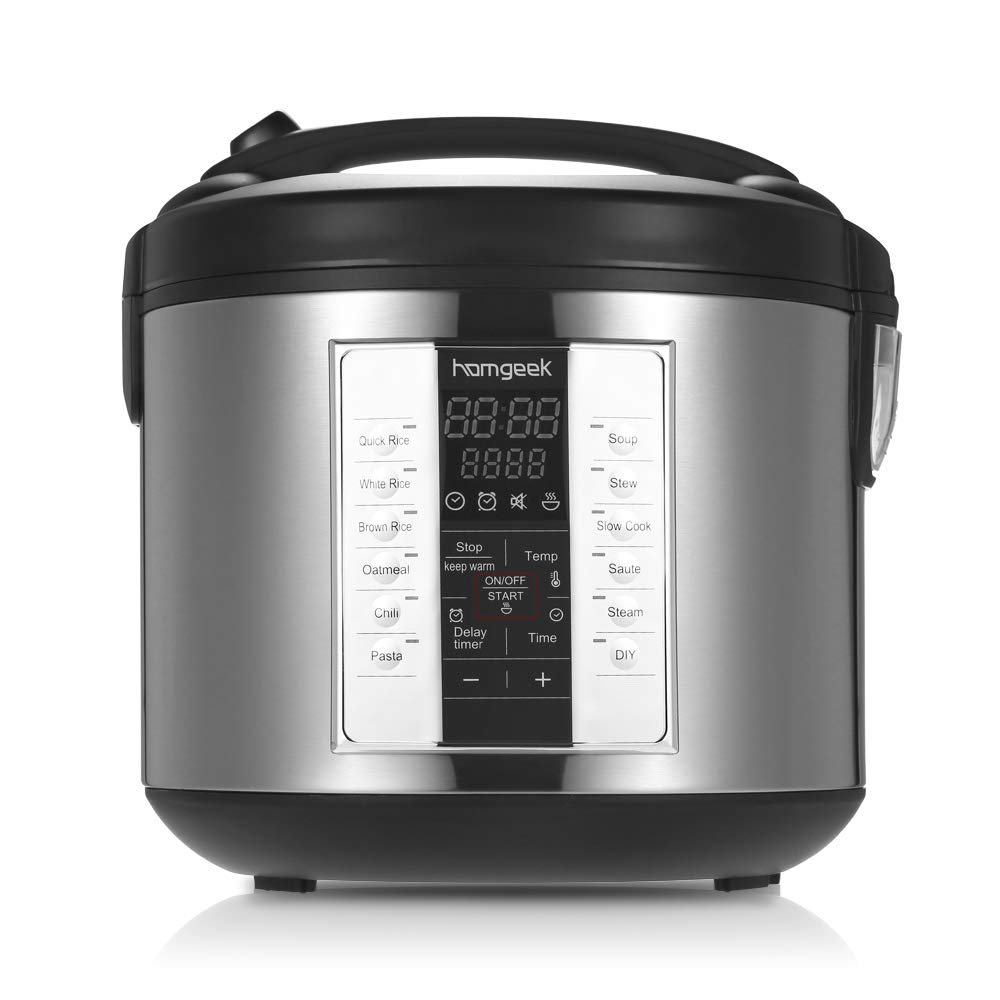 Homgeek Rice Cooker-20 Cup Cooked (10 cup uncooked) Multi-Cooker Food Steamer Slow Cooker with Steam Tray, Non-Stick Surface