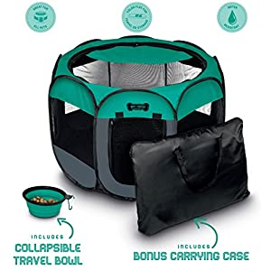 Ruff 'n Ruffus Portable Foldable Pet Playpen with Carrying Case & Collapsible Travel Bowl | Indoor / Outdoor use | Water resistant | Removable shade cover | Dogs / Cats / Rabbit | Available In 2 Sizes