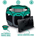 Ruff 'n Ruffus Pets Portable Foldable Pet Playpen + Carrying Case & Collapsible Travel Bowl (Extra Large (48'' x 48'' x 23.5''))