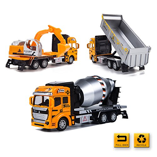Construction Toys & Diecast Car Toys-3 PCS of Pull Back Excavator & Dump Truck & Cement Mixer Vehicle for Boy Gril Toddlers -