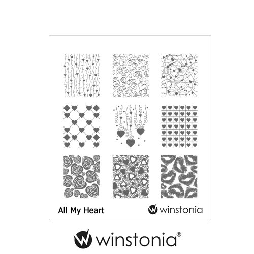 Winstonia Nail Art Stamping Image Plate - All My Heart
