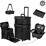 Beauty Royal 2 in 1 Rolling Makeup Trolley - Professional Cosmetic Train Case Bag Storage Organizer with Drawers, Wheel & Handle | Black Heavy Duty Travel Portable Light weight Nylon Soft Sided Fabric
