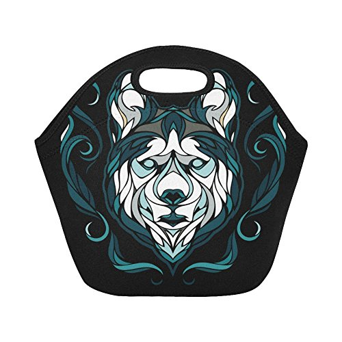(InterestPrint Lunch Bags Dog Siberian Husky Lunch Bag Lunch Box Lunch Tote For Adult Teens Men Women)