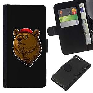 KingStore / Leather Etui en cuir / Apple Iphone 5C / Retrato del oso de Brown Animal Bosque Gafas de Red Hat