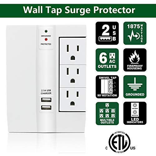 Wall Surge Protector, Lovin Product Multi Plug Outlet Wall Tap Power Strip with 2 USB Ports, 6 Protected Outlets (3 Swivel Outlets), Grounded Indicator, ETL Certified Wall Mount Socket – White by LOVIN PRODUCT (Image #1)