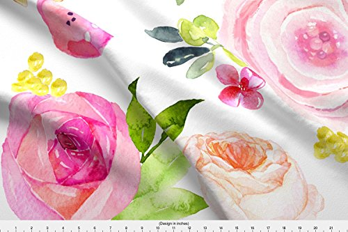 Modern Printed Poppies (Spoonflower Watercolor Floral Fabric Spring Peonies, Roses, And Poppies//Large by Theartwerks Printed on Modern Jersey Fabric by the Yard)