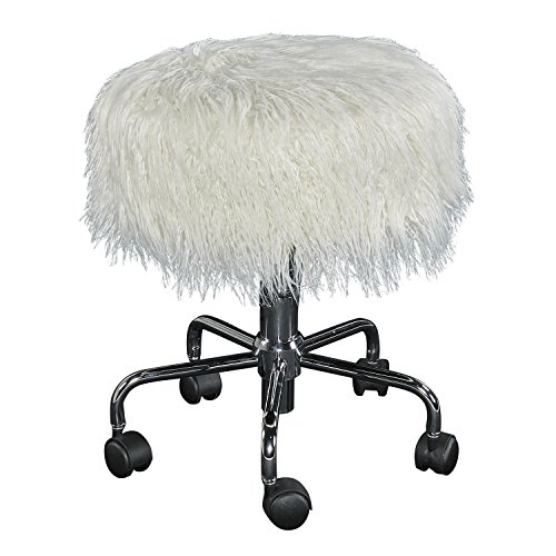 Linon Tillie White Faux Fur Stool (Furry Vanity Stool)