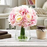 Pure Garden 50-133-PINK Silk Floral Arrangement, White/Pink