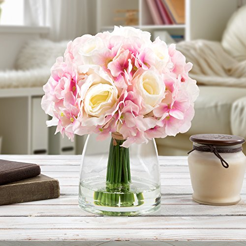 Pure Garden 50-133-PINK Silk Floral Arrangement, White/Pink (Floral Arrangements Silk)