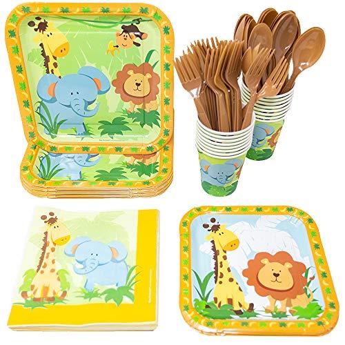 Safari Paper Plates (Safari Party Supplies Packs (113+ Pieces for 16 Guests!), Safari Party Tableware, Safari Party)