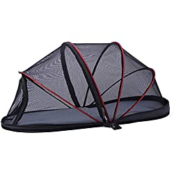 OTENGD Pet Mesh Tent Cat Tunnel Fun House Portable Exercise Tent Outdoor with Carry Bag Easy One Step Assembly for Cats Dog and Small Animals Black