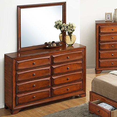 Amazon.com: Roundhill Furniture Oakland 139 Antique Oak Finish Wood 6  Drawers Dresser U0026 Mirror: Kitchen U0026 Dining