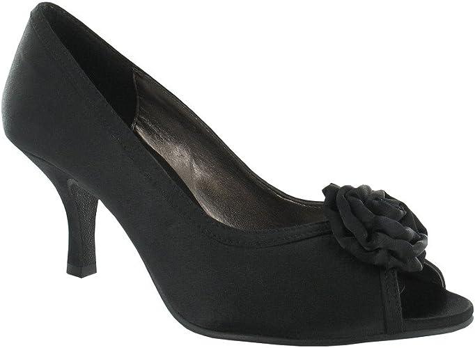 Satin high heel peep toe platform flower front shoes