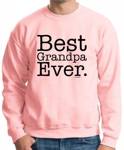 Best Grandpa Ever Crewneck Sweatshirt Small Lt Pink (Diaper Genie Small)