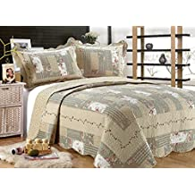 """All for You 3-piece Reversible Bedspread/ Coverlet / Quilt Set-beige, pink, burgundy and gray green prints -86""""x86""""-(full/queen)-Highly recommend measuring bed before purchase, size runs small"""