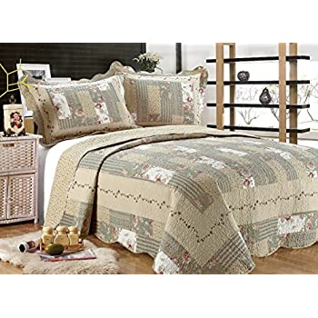 Very best Amazon.com: ALL FOR YOU 3-piece Reversible Bedspread/Coverlet  ED13