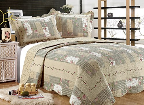 "All for You 3-piece Reversible Bedspread/ Coverlet / Quilt Set-beige, pink, burgundy and gray green prints -86""x86""-(full/queen)-Highly recommend measuring bed before purchase, size runs small"