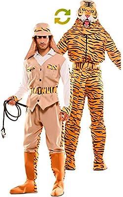 EUROCARNAVALES Disfraz Doble de Cazador y Tigre para Adultos ...