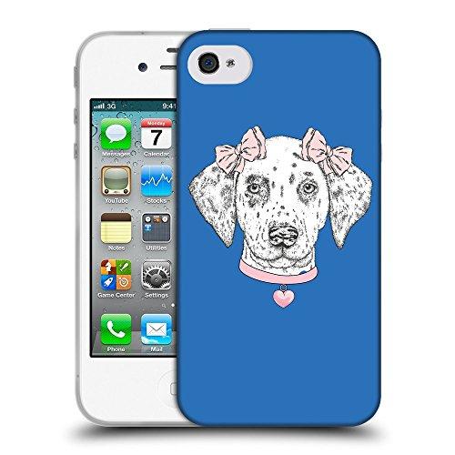 GoGoMobile Coque de Protection TPU Silicone Case pour // Q05040608 collier Chien Azur // Apple iPhone 4 4S 4G