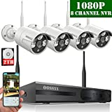 OOSSXX 4-Channel HD 1080P Wireless Network/IP Security Camera System(IP Wireless WIFI NVR Kits),4Pcs