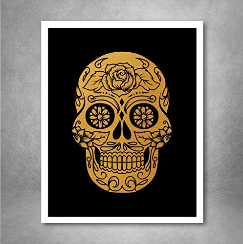Free Gold Foil Art Print - Sugar Skull With Black Background Gold Foil Design 8x10 inches
