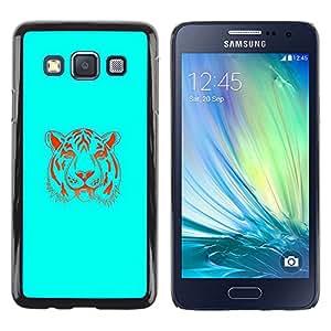 Caucho caso de Shell duro de la cubierta de accesorios de protección BY RAYDREAMMM - Samsung Galaxy A3 - Neon Blue Tiger
