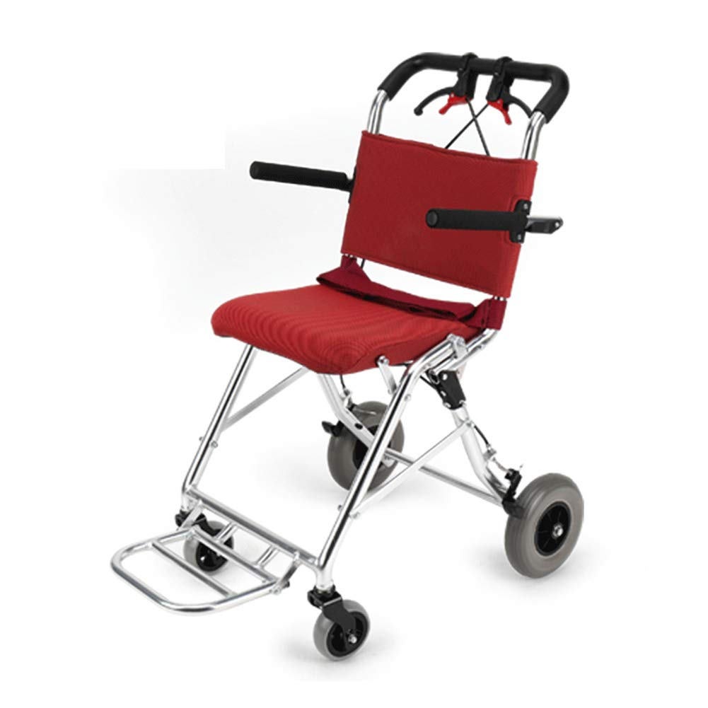 QIDI 車椅子 折りたたみ可能 アルミニウム合金 軽量 ハンドブレーキ付き ひじかけ 8kg (色 : Red)  Red B07KCRG6XL