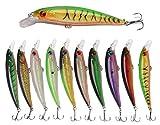JSHANMEI ® 10pcs/lot 13cm 3D Fishing Eyes Laser Line Hard Minnow Baits Life-like