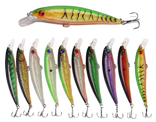 JSHANMEI Fishing Lures Hard Bait Minnow Lure with Treble Hook Life-Like Swimbait Fishing Bait 3D Fishing Eyes Crankbait for Bass Trout Walleye Redfish (Type B: 10pcs) ()