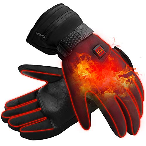 (IFWATER Men Woman Electric Gloves Hand Warmer Heated Gloves with 3 Heating Levels Temperature Adjustable,3.7V Rechargeable Batteries Motocycle Gloves for Hunting Skiing Hiking Camping)