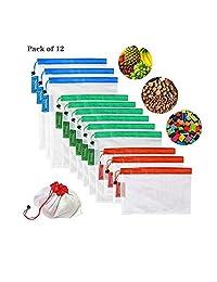 Bolsas reutilizables de malla,Bolsas Compra Reutilizables Ecológicas Bolsas lavables para Almacenamiento frutas, vegetales y juguetes y en varios tamaños (12)