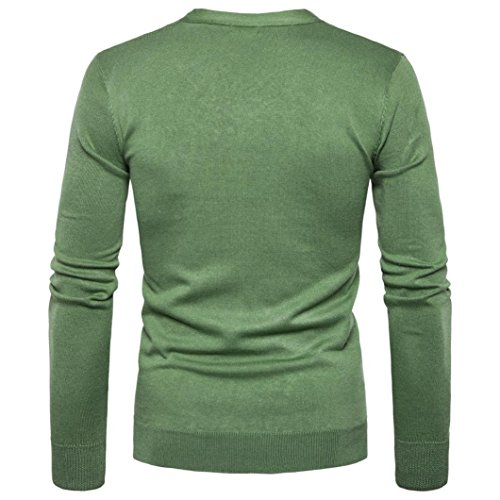 para Jerséis Hombre Escudo Jerséis Sweater Knit Cardigan V Verde Botón Cuello larga Otoño KaloryWee manga Invierno para Hombre ZwAOqf6